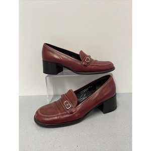 Preowned Red Coach Shoes Heel Loafers Size 8 1/2 B